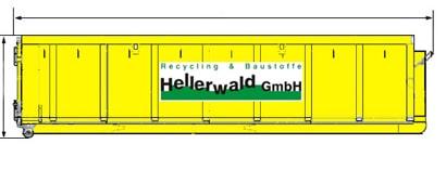 Maße eines gelben Abrollcontainers von Hellerwald