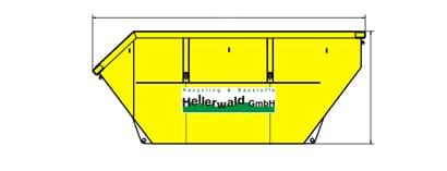 Maße eines gelben Absetzcontainers von Hellerwald